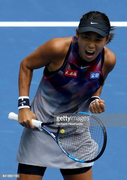 Shuai Zhang of China reacts against Karolina Pliskova of Czech Republic during their Women's Singles third round match on Day Six of the 2017 US Open...