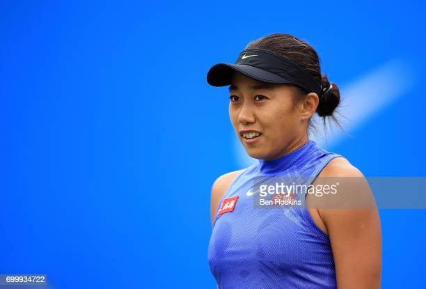 Shuai Zhang of China reacts during the second round match against Kristina Mladenovic of France on day four of The Aegon Classic Birmingham at...
