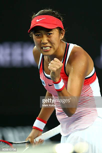 Shuai Zhang of China reacts in her first round match against Simona Halep of Romania during day two of the 2016 Australian Open at Melbourne Park on...