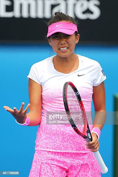 Shuai Zhang of China reacts to a point in her first round match against Alize Cornet of France during day two of the 2015 Australian Open at...
