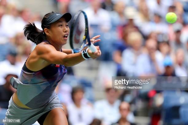 Shuai Zhang of China returns a shot against Karolina Pliskova of Czech Republic during their Women's Singles third round match on Day Six of the 2017...