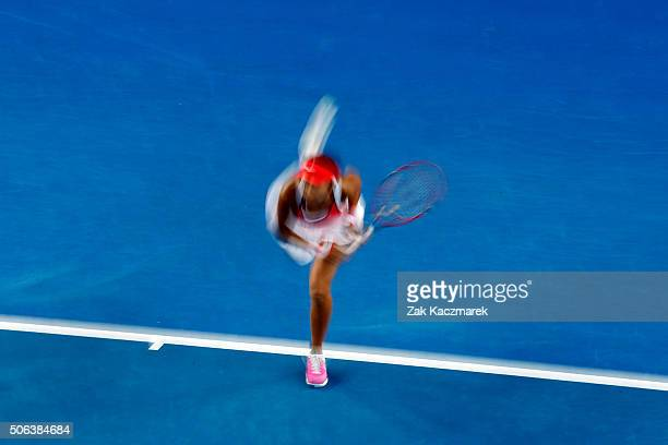 Shuai Zhang of China serves during her third round match against Varvara Lepchenko of United States of Americaduring day six of the 2016 Australian...