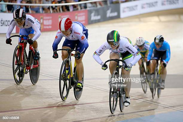 Shuang Guo of China wins the Womens Keirin final ahead of Anna Meares of Australia and Lee Hyejin of Korea during the 2015 UCI Track Cycling World...