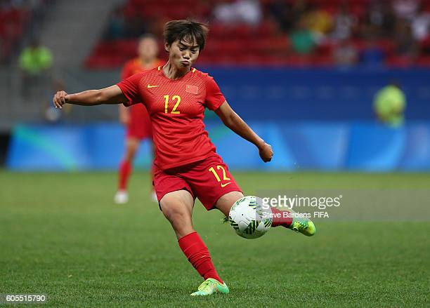 Shuang Wang of China PR shoots during the Women's First Round Group E match between China PR and Sweden on Day 4 of the Rio 2016 Olympic Games at...