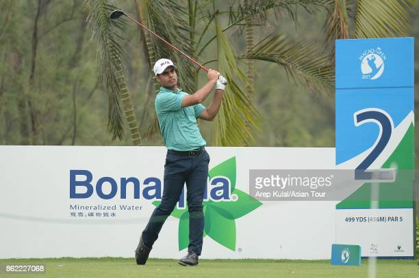 Shubhankar Sharma of India pictured during practice ahead of the Macao Open at Macau Golf and Country Club on October 17 2017 in Macau Macau
