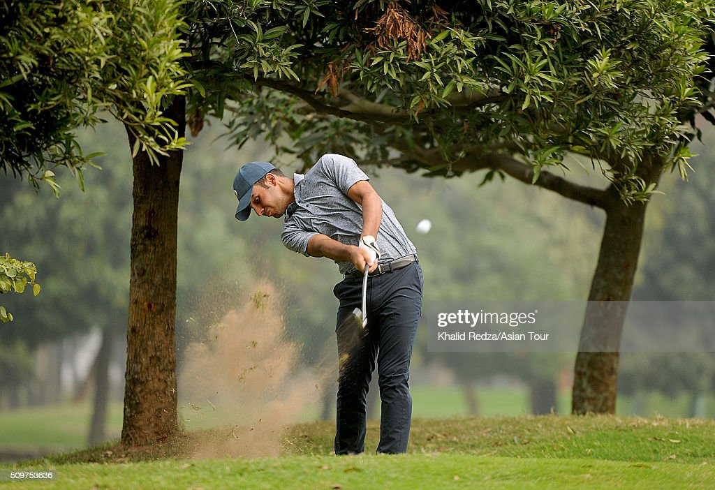 Shubhankar Sharma of India plays a shot during round three of the Bashundhara Bangladesh Open at Kurmitola Golf Club on February 12, 2016 in Dhaka, Bangladesh.