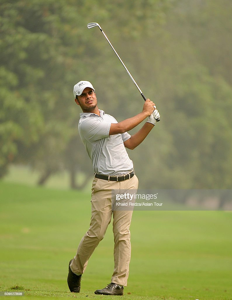 Shubhankar Sharma of India plays a shot during round two of the Bashundhara Bangladesh Open at Kurmitola Golf Club on February 11, 2016 in Dhaka, Bangladesh.