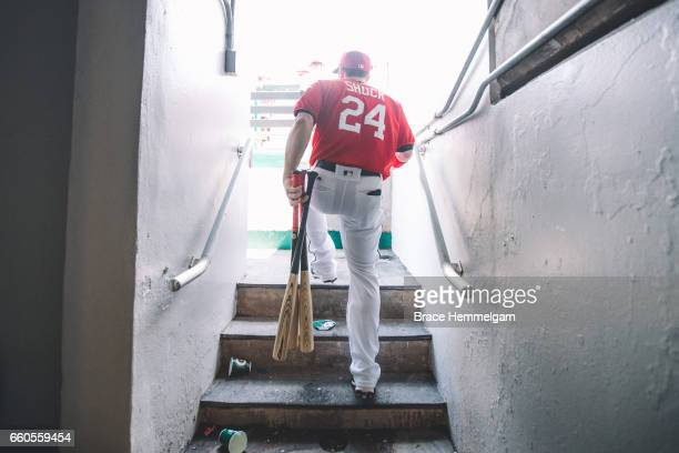 B Shuck of the Minnesota Twins looks on against the Miami Marlins during a preseason game on February 27 2017 at the CenturyLink Sports Complex in...