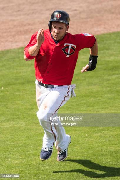 B Shuck of the Minnesota Twins runs against the Miami Marlins during a preseason game on February 27 2017 at the CenturyLink Sports Complex in Fort...