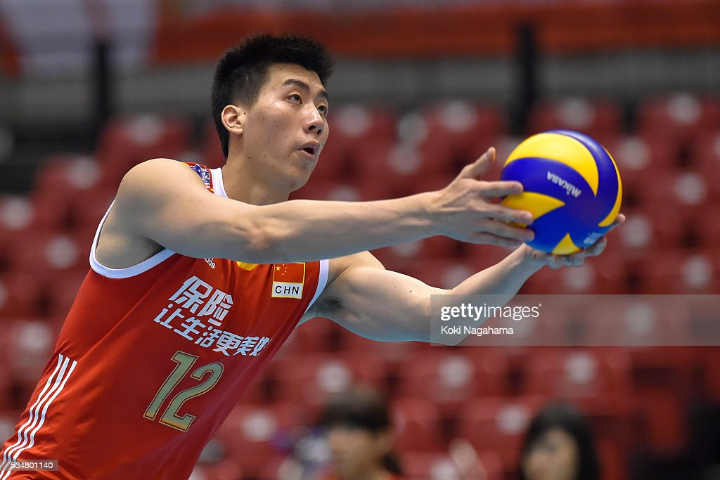 Shuhan Rao #12 of China serves the ball during the Men's World Olympic Qualification game between China and France at Tokyo Metropolitan Gymnasium on May 28, 2016 in Tokyo, Japan.