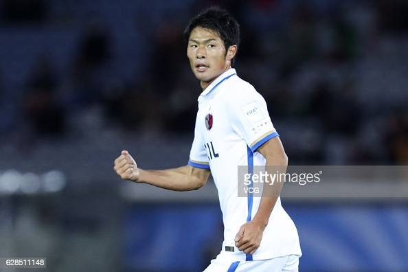 Shuhei Akasaki of Kashima Antlers celebrates a point during the first round match of FIFA Club World Cup Playoff for Quarter Final match between...