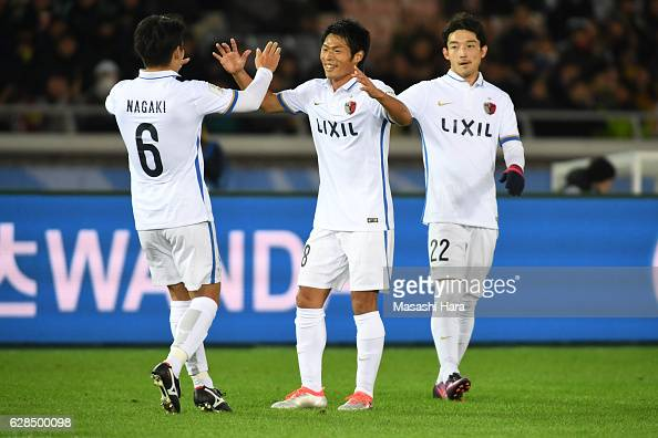Shuhei Akasaki of Kashima Antlers celebrates the first goal during the FIFA Club World Cup Playoff for Quarter Final match between Kashima Antlers...