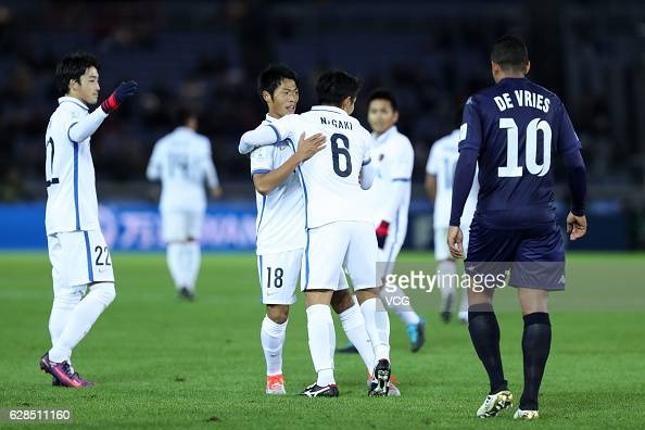 Shuhei Akasaki of Kashima Antlers celebrates with his teammates during the first round match of FIFA Club World Cup Playoff for Quarter Final match...