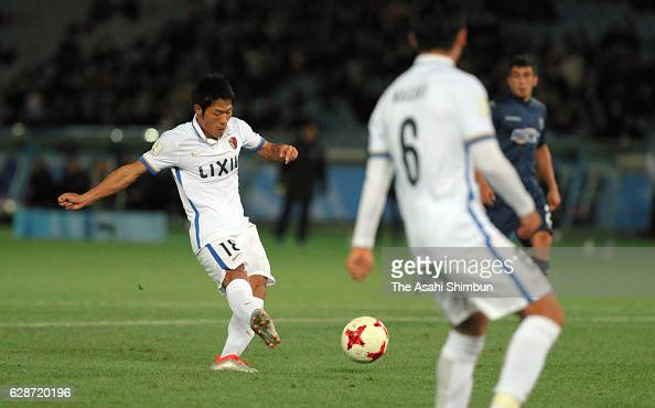 Shuhei Akasaki of Kashima Antlers scores his team's first goal during the FIFA Club World Cup Playoff for Quarter Final match between Kashima Antlers...