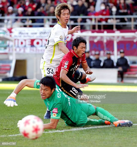 Shuhei Akasaki of Kashima Antlers shoots at goal during the 96th Emperor's Cup quarter final match between Kashima Antlers and Sanfrecce Hiroshima at...