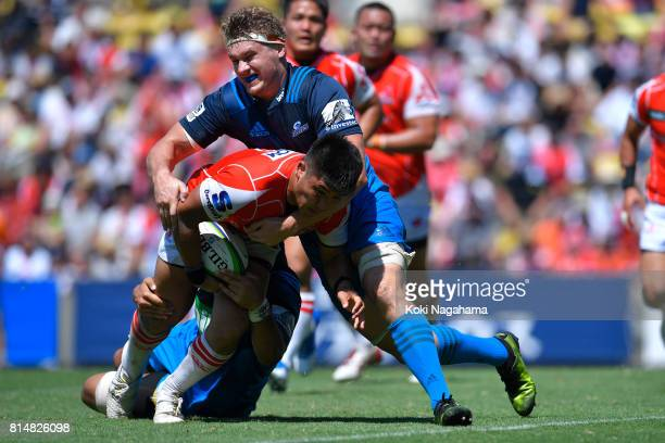 Shuhei Matsuhashi of Sunwolves is tackled during the Super Rugby match between the Sunwolves and the Blues at Prince Chichibu Stadium on July 15 2017...