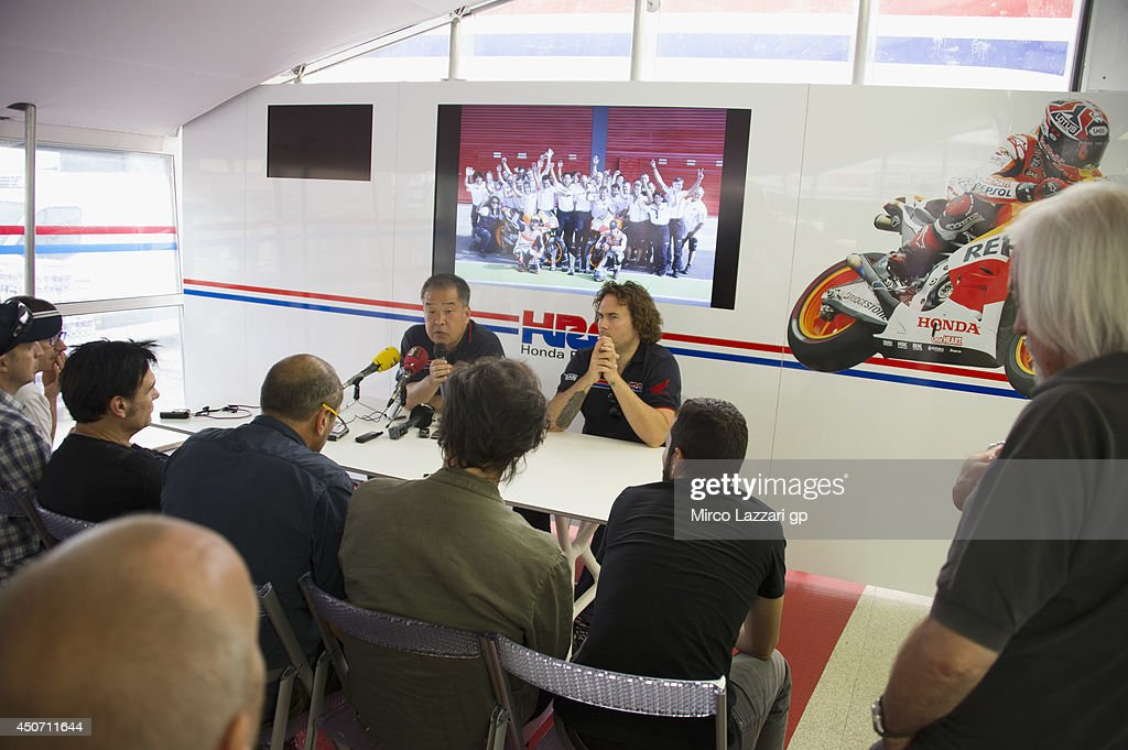 Shuhei Nakamoto of Japan and Honda Racing Competition HRC speaks during the Honda press conference for the 100th victory of Honda in MotoGP class during the MotoGp Tests In Montmelo at Circuit de Catalunya on June 16, 2014 in Montmelo, Spain.