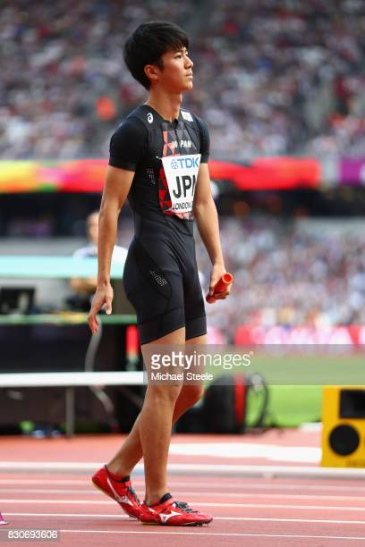 Shuhei Tada of Japan looks on prior to competing in the Men's 4x100 metres relay heats during day nine of the 16th IAAF World Athletics Championships...