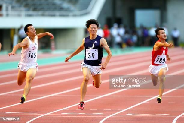 Shuhei Tada reacts after winning the Men's 100m during the West Japan Intercollegiate Meet at Edion Stadium Hiroshima on July 1 2017 in Hiroshima...