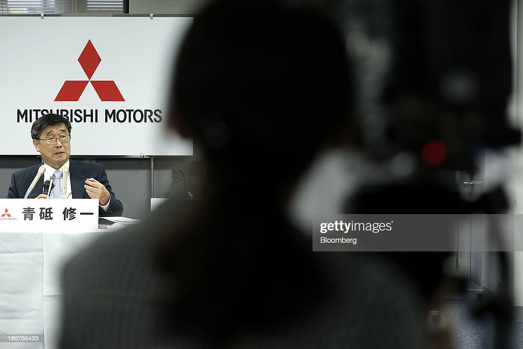 Shuichi Aoto, managing director of Mitsubishi Motors Corp., speaks during a news conference in Tokyo, Japan, on Tuesday, Feb. 5, 2013. Shares in Mitsubishi Motors dropped after the company reduced its operating profit forecast. Photographer: Kiyoshi Ota/Bloomberg via Getty Images