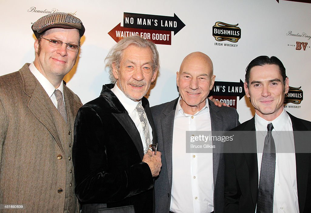 Shuler Hensley, <a gi-track='captionPersonalityLinkClicked' href=/galleries/search?phrase=Ian+McKellen&family=editorial&specificpeople=202983 ng-click='$event.stopPropagation()'>Ian McKellen</a>, <a gi-track='captionPersonalityLinkClicked' href=/galleries/search?phrase=Patrick+Stewart&family=editorial&specificpeople=203271 ng-click='$event.stopPropagation()'>Patrick Stewart</a> and <a gi-track='captionPersonalityLinkClicked' href=/galleries/search?phrase=Billy+Crudup&family=editorial&specificpeople=204698 ng-click='$event.stopPropagation()'>Billy Crudup</a> pose at the 'No Man's Land' & 'Waiting For Godot' Opening Night after party at the Bryant Park Grill on November 24, 2013 in New York City.