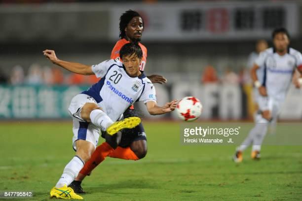 Shun Nagasawa of Gamba Osaka scores his side's second goal during the JLeague J1 match between Omiya Ardija and Gamba Osaka at Kumagaya Athletic...