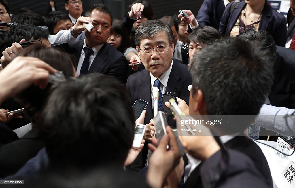 Shunichi Miyanaga president and chief executive officer of Mitsubishi Heavy Industries Ltd speaks to reporters following a news conference in Tokyo...