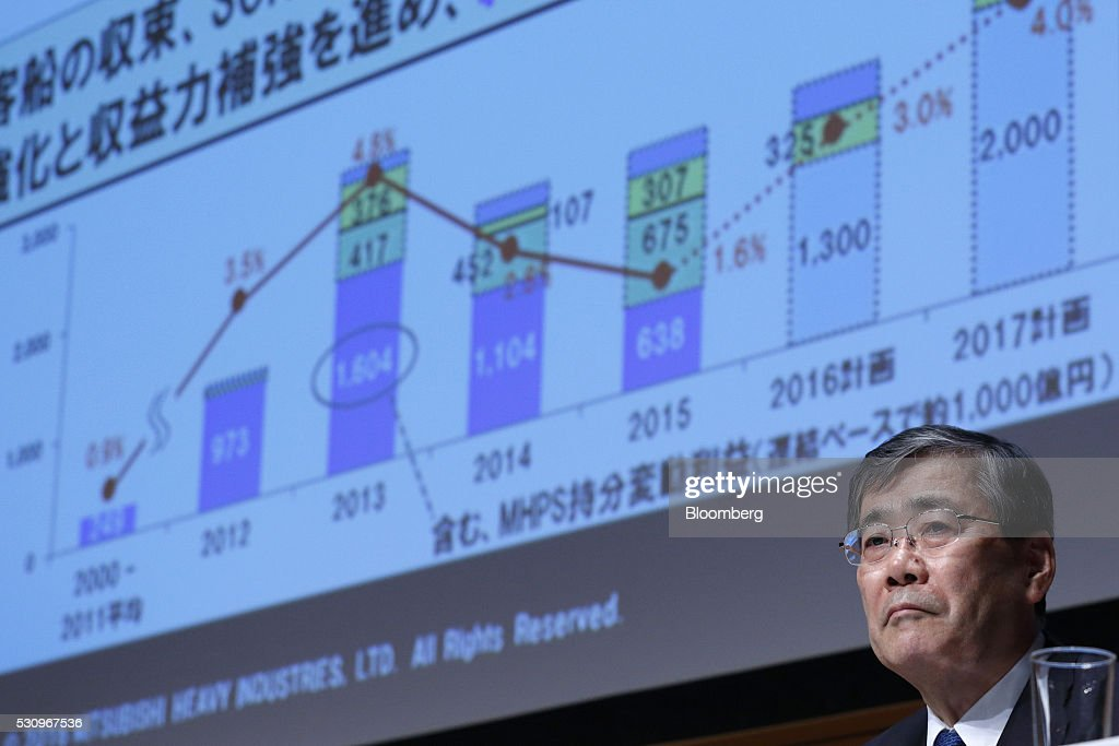 Shunichi Miyanaga president and chief executive officer of Mitsubishi Heavy Industries Ltd attends a news conference in Tokyo Japan on Monday May 9...