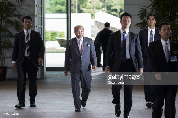 Shunichi Suzuki newlyappointed Tokyo Olympic and Paralympic Games minister of Japan center arrives at the Prime Minister's official residence in...