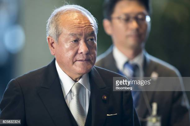 Shunichi Suzuki newlyappointed Tokyo Olympic and Paralympic Games minister of Japan left arrives at the Prime Minister's official residence in Tokyo...