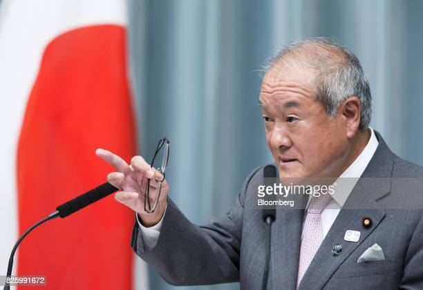 Shunichi Suzuki newlyappointed Tokyo Olympic and Paralympic Games minister of Japan speaks during a news conference in Tokyo Japan on Thursday Aug 3...
