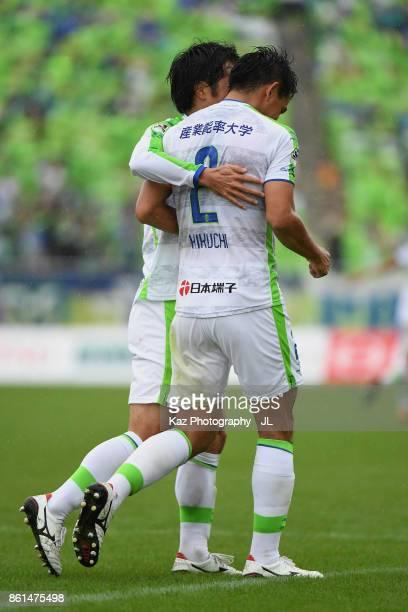 Shunsuke Kikuchi of Shonan Bellmare celebrates scoring his side's second goal with his team mate Toshiki Ishikawa during the JLeague J2 match between...