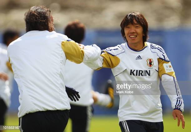 Shunsuke Nakamura laughs during a Japan training session at SaasFee Stadium on June 2 2010 in SaasFee Switzerland
