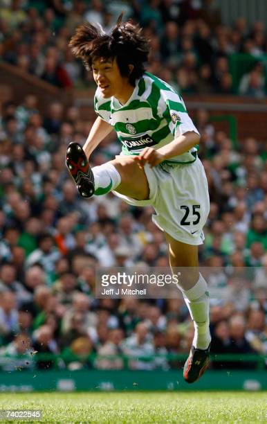 Shunsuke Nakamura of Celtic in action during the Scottish Premier League match between Celtic and Hearts at Celtic Park on April 29 2007 in Glasgow...