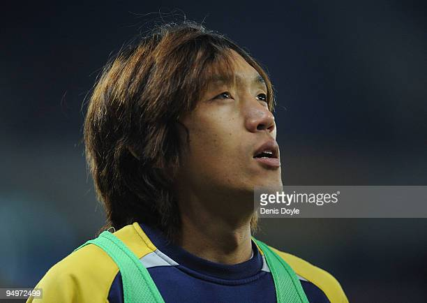 Shunsuke Nakamura of Espanyol warms up on the sideline during the La Liga match between Espanyol and UD Almeria at the CornellaEl Prat stadium on...