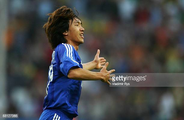 Shunsuke Nakamura of Japan celebrate after scoring a goal during the match between Japan and Brazil for the Confederations Cup 2005 at the...