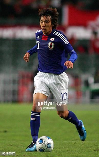 Shunsuke Nakamura of Japan in action during AFC Asia Cup 2011 Qatar qualifier match between Hong Kong and Japan at Hong Kong Stadium on November 18...