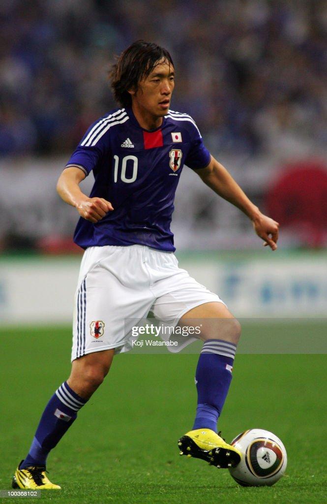 Shunsuke Nakamura of Japan in action during the international friendly match between Japan and South Korea at Saitama Stadium on May 24, 2010 in Saitama, Japan.