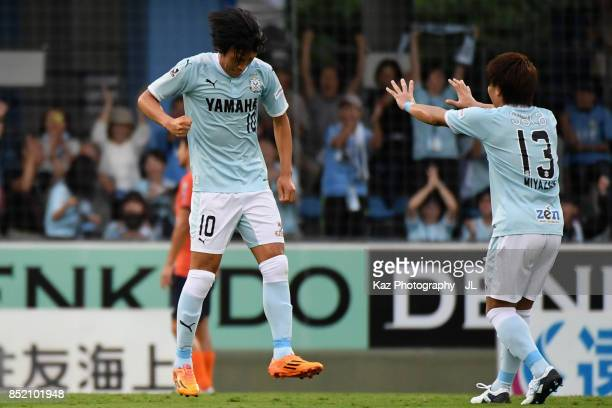 Shunsuke Nakamura of Jubilo Iwata celebrates scoring his side's first goal during the JLeague J1 match between Jubilo Iwata and Omiya Ardija at...