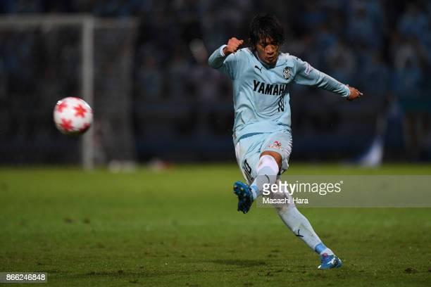 Shunsuke Nakamura of Jubilo Iwata in action during the 97th Emperor's Cup quarter final match between Yokohama FMarinos and Jubilo Iwata at Nippatsu...