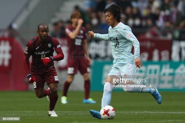 Shunsuke Nakamura of Jubilo Iwata in action during the JLeague J1 match between Vissel Kobe and Jubilo Iwata at Noevir Stadium Kobe on March 18 2017...