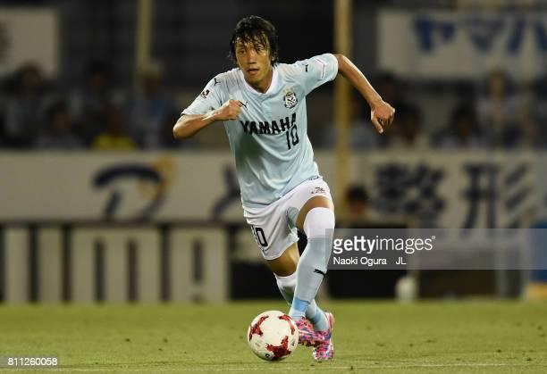 Shunsuke Nakamura of Jubilo Iwata in action during the JLeague J1 match between Jubilo Iwata and Ventforet Kofu at Yamaha Stadium on July 8 2017 in...