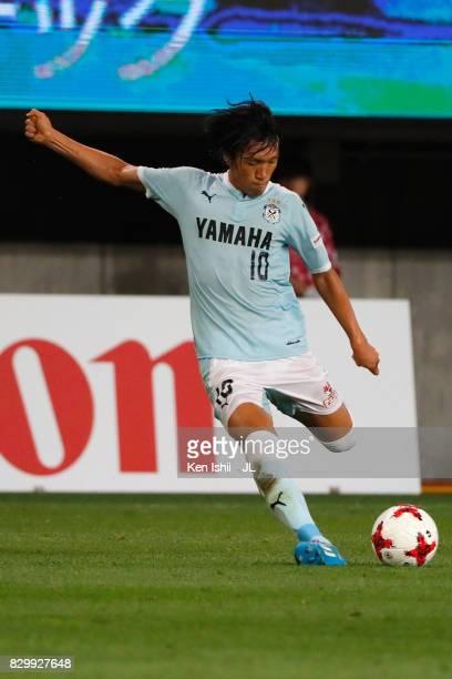 Shunsuke Nakamura of Jubilo Iwata in action during the JLeague J1 match between Vegalta Sendai and Jubilo Iwata at Yurtec Stadium Sendai on August 9...