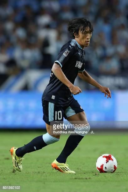 Shunsuke Nakamura of Jubilo Iwata in action during the JLeague J1 match between Gamba Osaka and Jubilo Iwata at Suita City Football Stadium on August...