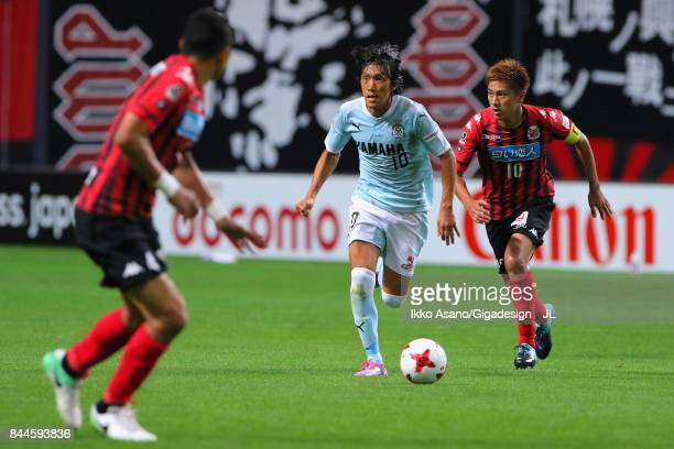 Shunsuke Nakamura of Jubilo Iwata in action during the JLeague J1 match between Consadole Sapporo and Jubilo Iwata at Sapporo Dome on September 9...