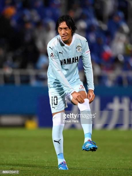 Shunsuke Nakamura of Jubilo Iwata is seen during the 97th Emperor's Cup quarter final match between Yokohama FMarinos and Jubilo Iwata at Nippatsu...