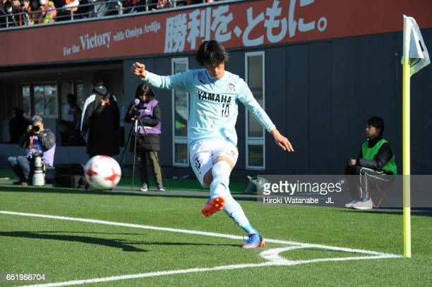 Shunsuke Nakamura of Jubilo Iwata takes a corner kick during the JLeague J1 match between Omiya Ardija and Jubilo Iwata at Nack 5 Stadium Omiya on...