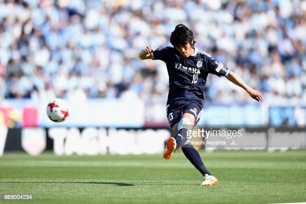 Shunsuke Nakamura of Jubilo Iwata takes a free kick during the JLeague J1 match between Jubilo Iwata and Sagan Tosu at Yamaha Stadium on April 16...
