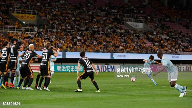 Shunsuke Nakamura of Jubilo Iwata takes a free kick during the JLeague J1 match between Vegalta Sendai and Jubilo Iwata at Yurtec Stadium Sendai on...