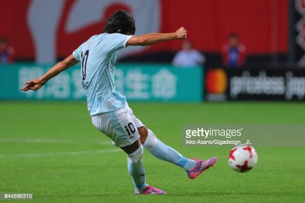 Shunsuke Nakamura of Jubilo Iwata takes a free kick during the JLeague J1 match between Consadole Sapporo and Jubilo Iwata at Sapporo Dome on...
